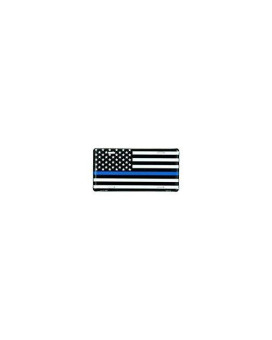 Thin Blue Line USA Metal License Plate  6x12 inch Black, White, and Blue American Flag Auto Tag for Cars and Trucks - In Support of Police and Law Enforcement Officers