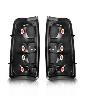 Taillights Tail Lamps For Chevy Chevrolet Silverado 1999-2007 GMC Sierra 1999-2002 Pickup Truck (Black & Smoke Rear Replacement)