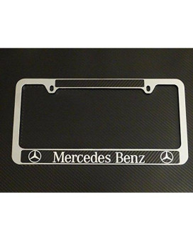 Mercedes-Benz license plate carbon fiber chrome text, INCLUDES DECAL!