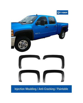 Tyger Auto TG-FF6C4288 For 2007-2013 Chevy Silverado 1500 2500HD 3500HD 6.5' & 8' Bed (NOT for Sierra)   Excl. 2007 Classic models   Paintable Fine-Textured Matte Black OE Style Fender Flares, 4 Piece
