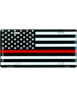 Thin Red Line USA Metal License Plate  6x12 inch Black, White, and Red American Flag Auto Tag for Cars and Trucks  Recognize and Support the Courage of Firefighters, Fireman