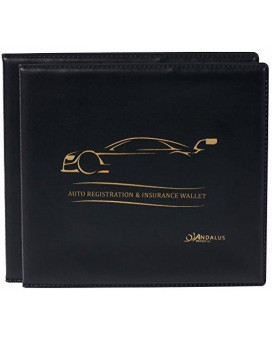ANDALUS Auto Car Truck Motorcycle Registration and Insurance Document Holder Wallet | Black Vinyl Case | Strong Velcro Closure | Keeps Glove Compartment Organized (2 PACK)