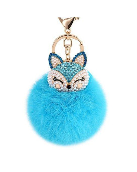 Boseen Genuine Rabbit Fur Ball Pom Pom Keychain with A fashion Alloy Fox Head Studded with Synthetic Diamonds(Rhinestone) for Womens Bag Cellphone Car Charm Pendant Decoration(Bright Blue)