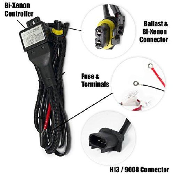 XtremeVision H13/9008 Hi/Lo Bi-Xenon Controller HID Battery Relay Wiring on