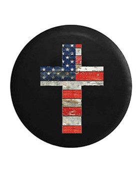 Wooden Vintage Rustic Cross American Flag Red White Blue Jesus Cross Religious Spare Jeep Wrangler Camper SUV Tire Cover 32 in