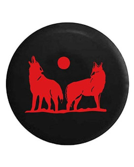 Wolves Howling in the Full Moon Light Spare Jeep Wrangler Camper SUV Tire Cover Red Ink 32 in