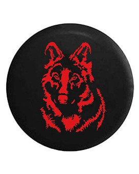 White Grey Wolf Spare Jeep Wrangler Camper SUV Tire Cover Red Ink 32 in