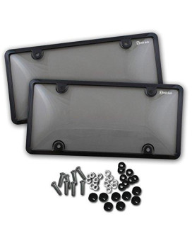 Zento Deals Unbreakable Smoked License Plate Covers and Frames-Clear-Tinted- 2 Pieces Shield Black-Fits All Standard 6x12 Inches Novelty/License Plates