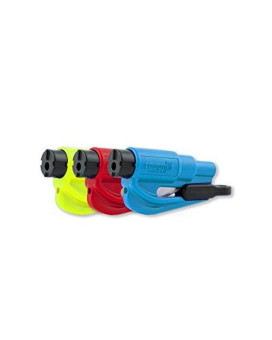 resqme 05.100.02.07.09 Car Escape Tool (Seat belt cutter and Window breaker), Blue, Red, Safety Yellow resqme, 3 Pack