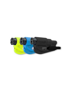 resqme 05.100.01.02.09 Car Escape Tool (Seat belt cutter and Window breaker), Black, Blue, Safety Yellow resqme, 3 Pack