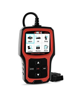 Ancel Ad410 Obd Ii Vehicle Check Engine Light Scan Tool Automotive Code Reader Auto Obd2 Scanner With I/M Readiness (Black-Red)