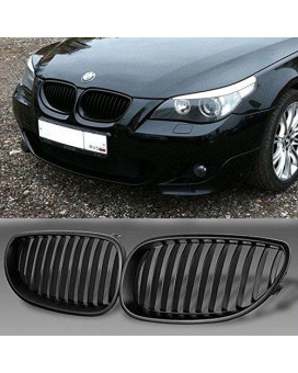 YUK Front Black Sport Wide Kidney Grilles Grill For BMW E60 E61 M5 5 Series 2003-2009