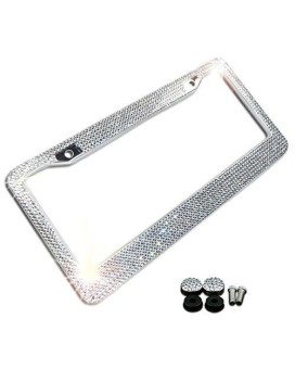 Zone Tech Shiny Bling License Plate Cover Frame - Crystal Bling Premium Quality Novelty/License Plate Frame with Mounting Screws