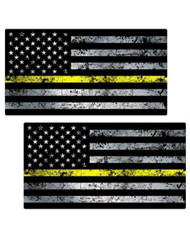 "Thin Yellow Line Flag ""GRUNGE"" Stickers 2 Pack LAMINATED tattered Security Officer USA Vinyl Decal Lives Matter Memorial Car Truck Bumper Windshield Design"