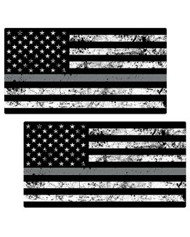 "Thin Silver Line Flag ""GRUNGE"" Stickers 2 Pack LAMINATED tattered Corrections Officer USA Vinyl Decal Lives Matter Memorial Car Truck Bumper Windshield Design"