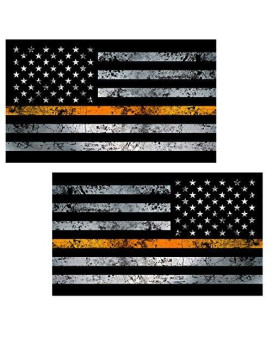 "Thin Orange Line Flag ""GRUNGE"" MIRRORED Stickers 2 Pack LAMINATED tattered Search Rescue EMS USA Vinyl Decal Lives Matter Memorial Car Truck Bumper Windshield Design"