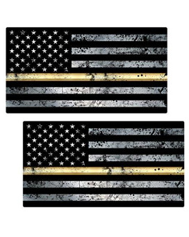 "Thin Gold Line Flag ""GRUNGE"" Stickers 2 Pack LAMINATED tattered Dispatch USA Vinyl Decal Lives Matter Memorial Car Truck Bumper Windshield Design"