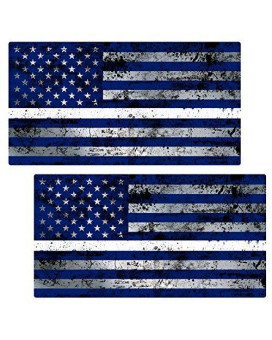 "Thin White Line Flag ""GRUNGE"" Stickers 2 Pack LAMINATED tattered EMS USA Vinyl Decal Lives Matter Memorial Car Truck Bumper Windshield Design"