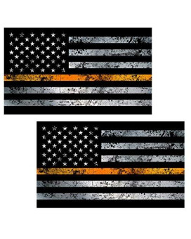 "Thin Orange Line Flag ""GRUNGE"" Stickers 2 Pack LAMINATED tattered Search Rescue EMS USA Vinyl Decal Lives Matter Memorial Car Truck Bumper Windshield Design"