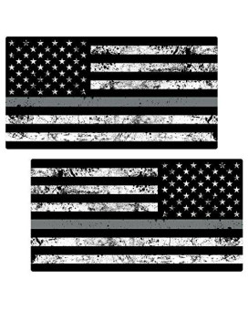"Thin Silver Line Flag ""GRUNGE"" MIRRORED Stickers 2 Pack LAMINATED tattered Corrections Officer USA Vinyl Decal Lives Matter Memorial Car Truck Bumper Windshield Design"