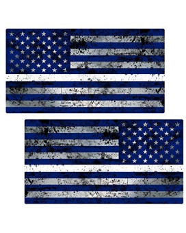 "Thin White Line Flag ""GRUNGE"" MIRRORED Stickers 2 Pack LAMINATED tattered EMS USA Vinyl Decal Lives Matter Memorial Car Truck Bumper Windshield Design"