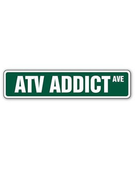 ATV ADDICT Street Sign Decal Sticker 4 wheeler offroad Sign Decal Stickers gift all terrain racer racing