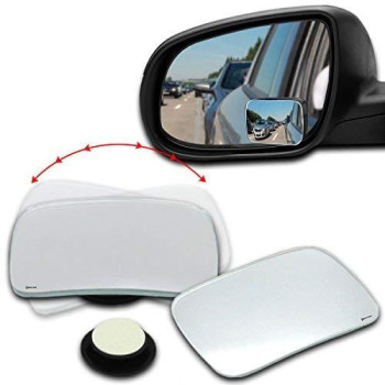Zento Deals 2 Packs Of Square Rearview Blind Spot Mirrors Stick-On And Adjustable To 360 Degrees Rotation Functions For All Vehicles
