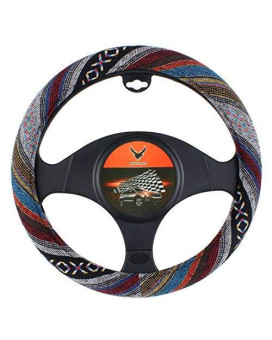 15 inch New Baja Blanket Car Steering Wheel Cover Universal Fit Most Cars Bell Automotive White Ethnic Style Coarse Flax Cloth