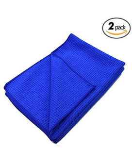 (2-Pack) THE RAG COMPANY 16 in. x 24 in. WAFFLE-WEAVE 370gsm Microfiber Detailing, Window / Glass and Drying Towels - LINT-FREE, STREAK-FREE