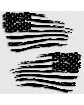 American Flag Decal Distressed Grunge Style Battle Military Decal Set Matte Black