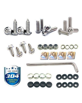 License Plate Screws Stainless Steel Anti Theft Tamper Resistant Bulk Kit For License Plates Security And Covers (29 Set)