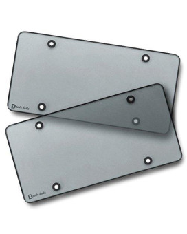 Zento Deals Clear Smoked License Plate Covers - 2-Pack  Novelty / License Plate Clear Smoked Flat Shields Covers
