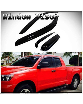 D&O MOTOR 4pcs Front+Rear Smoke Sun/Rain Guard Outside Mount Tape-On Vent Shade Window Visors For 07-17 Toyota Tundra Double/Crew Cab With 2 Half Size Back Doors