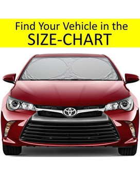 Windshield Sun Shade Easy-Select-Chart With Your Vehicle. Universal Hassle-Free Car Sun Shades Keep Your Vehicle Cool. Uv Sun And Heat Reflector