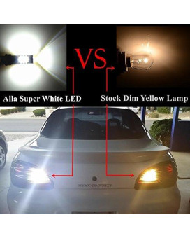 Alla Lighting Super Bright 4014 54-SMD 7443 7440 T20 W21W LED Bulb 6000K Xenon White LED Lights Bulbs for Back-up Reverse Light Replacement