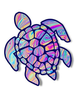 Vinyl Junkie Graphics 3 Inch Sea Turtle Sticker For Laptops Cupstumblers Cars And Trucks Any Smooth Surface (Tye Dye)