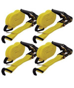 """Wideskall 4 Pieces Heavy Duty Ratchet Tie Down Cargo Straps - 27' X 2"""" 10,000 Lbs Capacity With Double J-Hooks"""