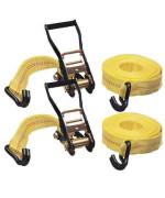"""Wideskall 2 Pieces Heavy Duty Ratchet Tie Down Cargo Straps - 27' X 2"""" 10,000 Lbs Capacity With Double J-Hooks"""