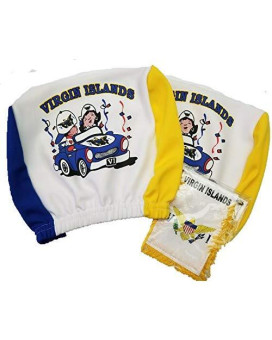 St Thoas U.S Virgin Islands Headrest Cover Flag Fit For Cars Vans Trucks-Sold By A Pairs W/ Haitian Boxing Gloves