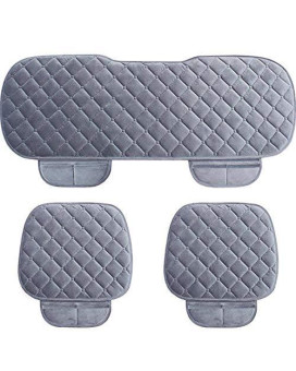 WINGOFFLY 3 Pack Thicken Front and Rear Car Seat Cushion Nonslip Car Interior Seat Cover Pad Mat Fit for Auto Vehicle, Grey
