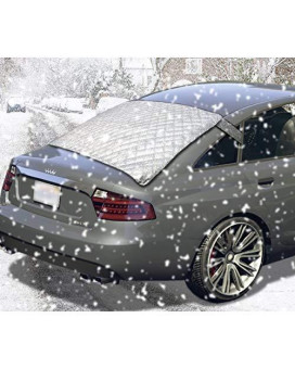 Zento Deals Silver Car Rear Windshield Cover Protector From Winter Ice/Snow, Sun Uv-Rays, And Scratches– Waterproof And No Leakage With Anti-Theft Design Fire Retardant Cover