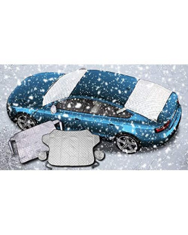 """Zento Deals Car Rear, Windshield and Side Mirrors Covers with Elastic Straps and Side Flaps"""" Anti-Theft Design for Ice/Snow, Sun UV-Rays, and Scratches Covers Protector -Fire Retardant Waterproof and"""