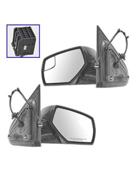 Towing Upgrade Mirror Power Heat Blindspot Chrome Black Pair For Chevy Pickup