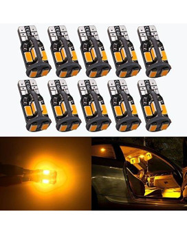 Antline 194 168 2825 T10 W5W Error Free LED Bulb Amber Yellow, Super Bright 300 Lumens 10-SMD 5730 Chipset LED Bulbs for Interior Dome Map Door Courtesy License Plate Lights, Pack of 10