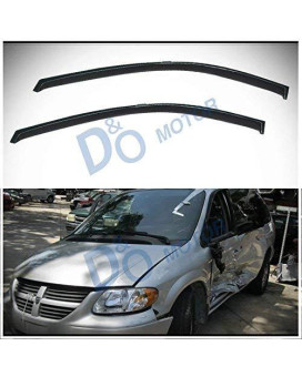 D&O MOTOR 2pcs Front Smoke Sun/Rain Guard Outside Mount Tape-On Vent Shade Window Visors For Dodge Caravan/Grand Caravan Chrysler/Plymouth Voyager/Grand Voyager Town & Country