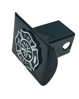 Support Firefighters Metal Emblem (Chrome &Amp; Black) On Black Metal Hitch Cover Fire