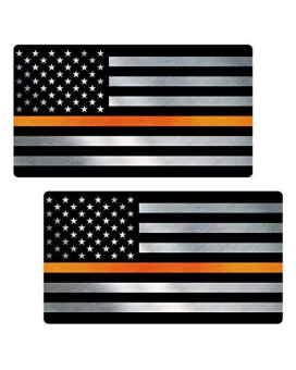 "Thin Orange Line Flag ""CLEAN"" Sticker 2 Pack LAMINATED tattered Search Rescue EMS USA Vinyl Decal Lives Matter Memorial Car Truck Bumper Winshield Design"
