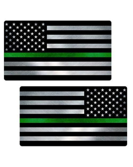 "Thin Green Line Flag ""CLEAN"" MIRRORED Sticker 2 Pack LAMINATED tattered Park Ranger Border Patrol USA Vinyl Decal Lives Matter Memorial Car Truck Bumper Winshield Design"