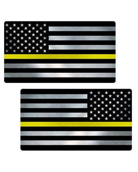 "Thin Yellow Line Flag ""CLEAN"" MIRRORED Sticker 2 Pack LAMINATED tattered Security Officer USA Vinyl Decal Lives Matter Memorial Car Truck Bumper Winshield Design"