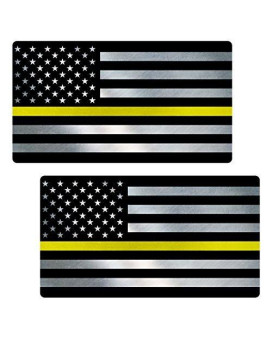 "Thin Yellow Line Flag ""CLEAN"" Sticker 2 Pack LAMINATED tattered Security Officer USA Vinyl Decal Lives Matter Memorial Car Truck Bumper Winshield Design"